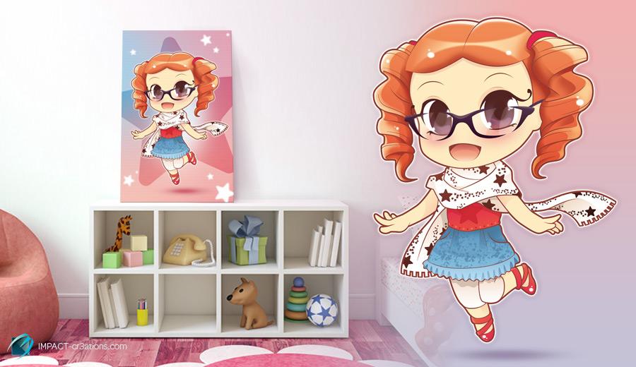 Tableau mascotte «chibi manga»